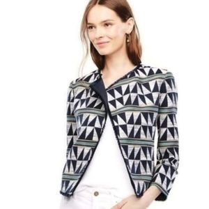 Ann Taylor Triangle Shape Jacquard Blazer Jacket L
